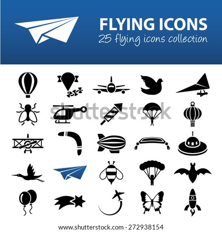 flying icons - stock vector