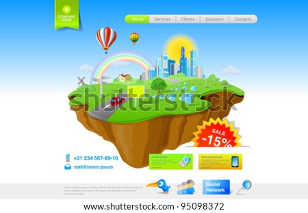 Flying Island: Web Promo Concept - stock vector