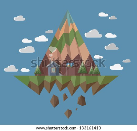 Flying island with little house with chimney smoke hearts. - stock vector