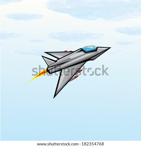 Flying jet fighter with missile. Vector illustration of war airplane in sky - stock vector