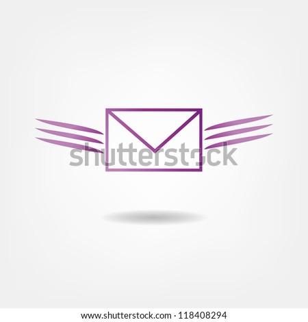 flying letter - stock vector