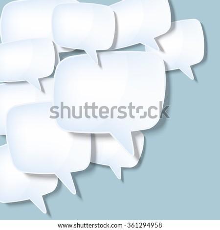 flying light blue speech abstract screens - stock vector