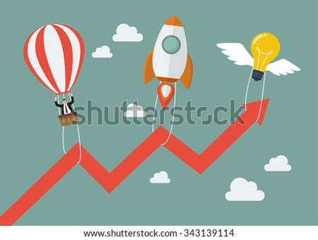 Flying lightbulb Rocket and Balloon pull graph up. Business concept - stock vector