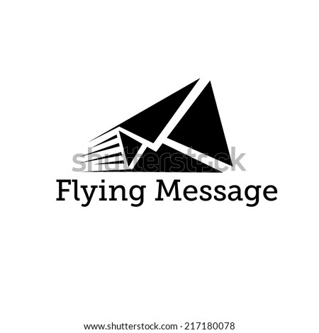 flying message vector design template - stock vector