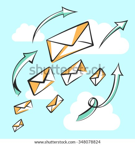 Flying messages with arrows. Career, growth, infographic or leadership concept. Air mail, post letter, delivery service or e-mail vector conception.