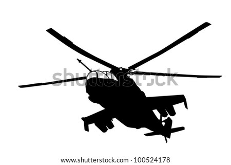 Flying Mi-24 (Hind) helicopter silhouette. Vector - stock vector