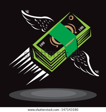 Flying Money. Remittance and Investment Concept Vector. Editable. - stock vector