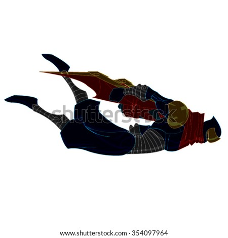 Flying Ninja Samurai with Red, Yellow and Blue Cartoon Vector - stock vector