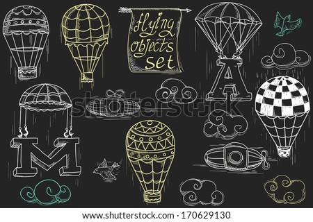 flying objects set with hot air balloons, parachute, airships, clouds, birds, letters A and M, charcoal in black background  - stock vector