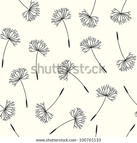 flying of dandelion seeds. seamless vector pattern