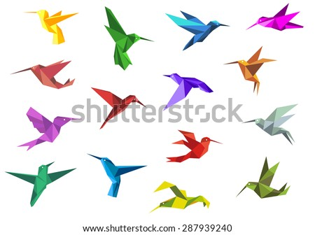 Flying origami paper hummingbirds or colibri isolated on white background, suitable for nature or logo design - stock vector