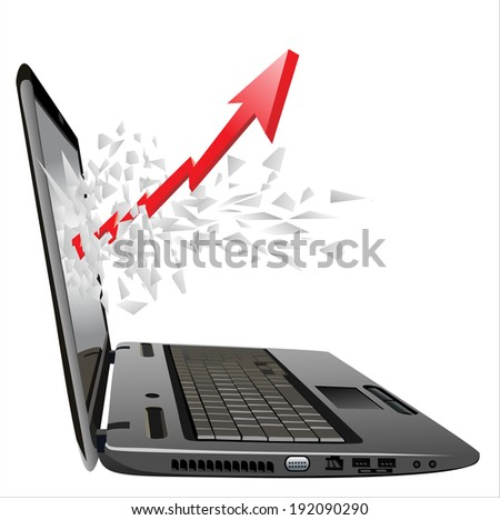 flying out of a broken laptop computer screen-red arrow and business growth chart