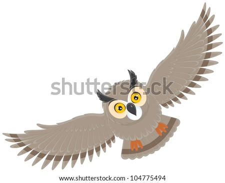flying owl - stock vector