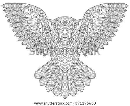 Flying owl. Adult antistress coloring page. Black and white hand drawn illustration for coloring book