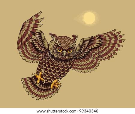 Flying Owl Bird. Vector version