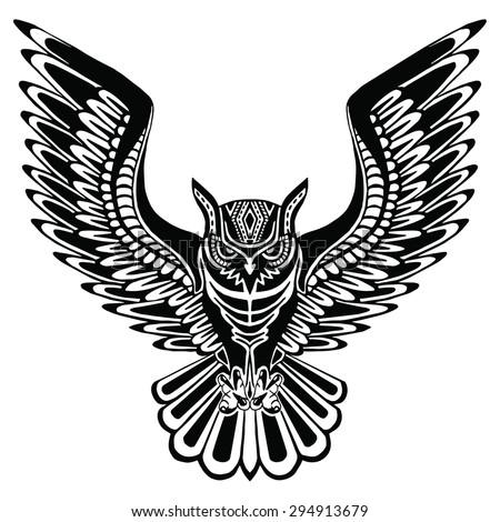 flying owl black silhouette pattern on stock vector 294913679 shutterstock. Black Bedroom Furniture Sets. Home Design Ideas