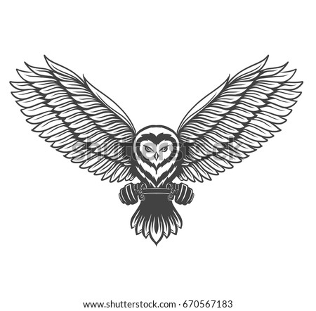Flying owl in attacking pose with barbell. Hand drawn illustration.
