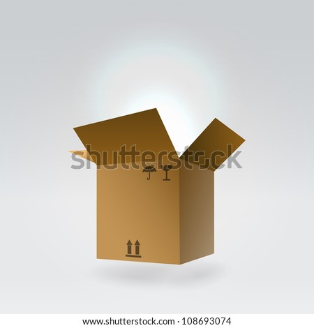 Flying package box glowing fom inside- magic gift concept - stock vector