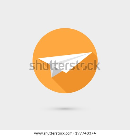 Flying paper airplane symbol icon vector illustration, flat design - stock vector