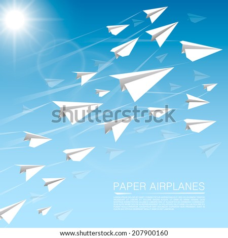 Flying paper airplanes paper plane background vectores en stock flying paper airplanes paper plane background vector illustration malvernweather Images