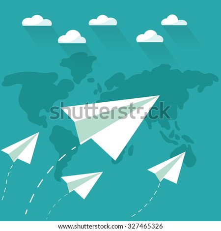 Flying paper planes on blue sky stock vector hd royalty free flying paper planes on the blue sky with clouds over world map travel vacation gumiabroncs Images