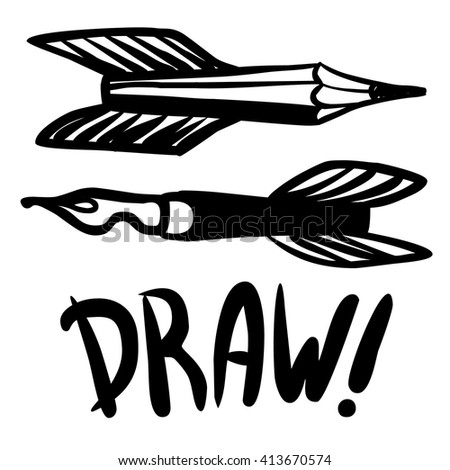 Flying pens and pencils as symbols of creativity. Vector hand drawn illustration