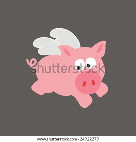 Flying Pig/Swine Vector