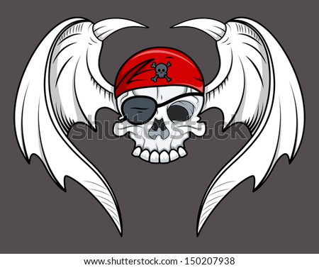 Flying Pirate Skull - Vector Cartoon Illustration - stock vector
