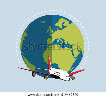 Flying plane and earth. Concept for traveling by plane, international flights. Flat vector illustration.