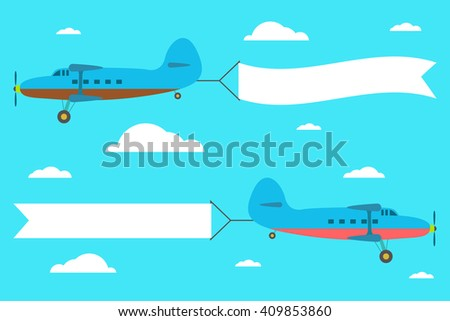 Flying planes with the banner on the background of clouds - stock vector
