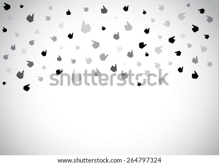 flying rain of thumbs up social media like with bright white background