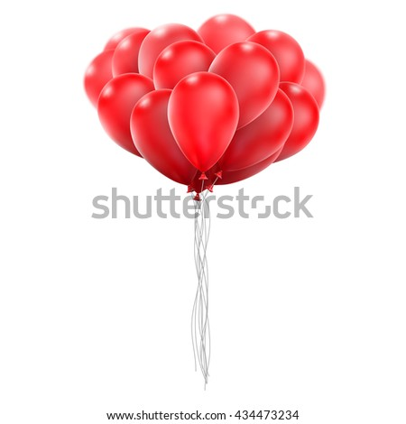 Flying realistic red glossy balloons holiday celebration elements. Balloons red. Ballons design. Balloons template. Balloons bunch. Balloons composition. EPS 10 vector file included - stock vector
