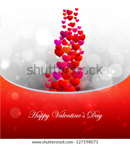 flying red hearts, romantic illustration, happy valentine's day celebration background