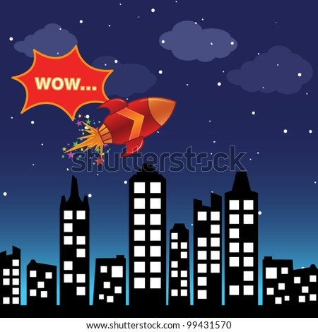 Flying rocket in the night city - stock vector