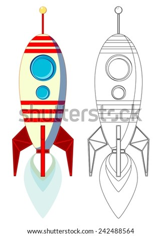 Flying Rocket with porthole and flames from the engine. color, contour vector - stock vector