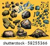 Flying rocks and stones - stock vector