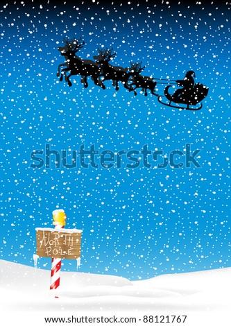 Flying Santa Background - stock vector