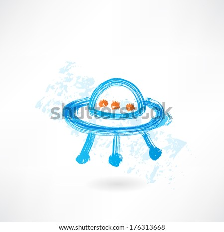 flying saucer grunge icon - stock vector