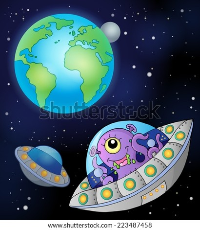 Flying saucers near Earth - eps10 vector illustration. - stock vector