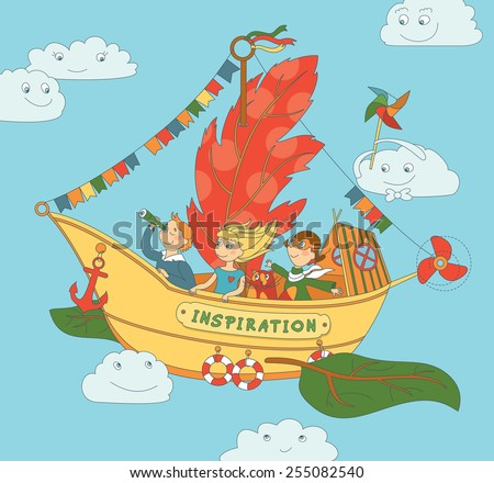 Flying Ship Inspiration With Happy Kids - stock vector
