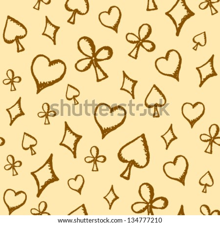 Flying sketch playing cards symbols seamless pattern - stock vector