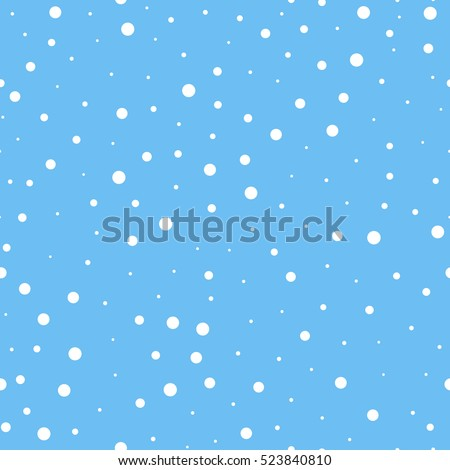 Flying snowflakes on a light blue background. Winter Abstract snowflakes seamless pattern. Falling snow. Vector illustration