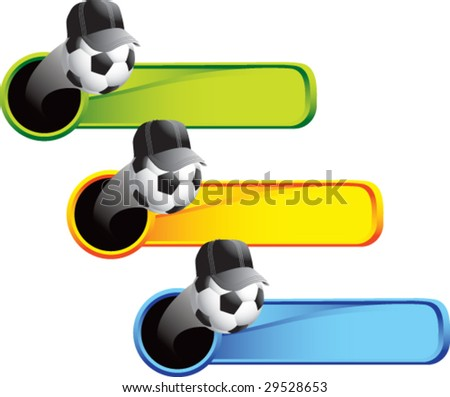 flying soccer ball referee on colored banners