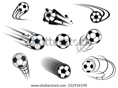 Flying soccer balls set with motion trails for sports emblem and logo design - stock vector
