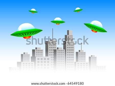 Flying spacecraft - stock vector