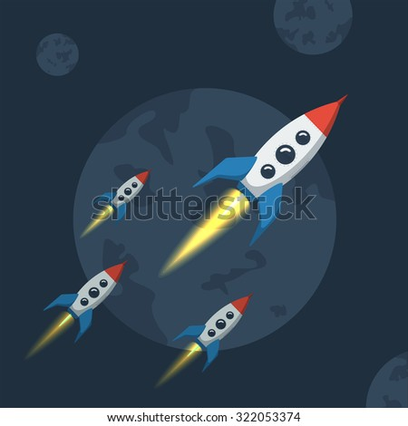 Flying spaceship in outer space. Flat style vector illustration for rocket against the backdrop of dark planet. - stock vector