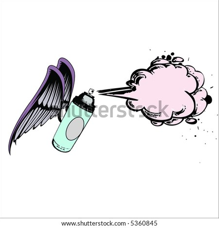 flying spraycan vector - stock vector