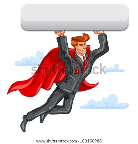 Flying Super businessman has big button. In place of a button you can put whatever you want. - stock vector