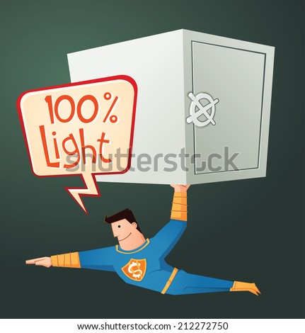 flying superhero carry a deposit box - stock vector