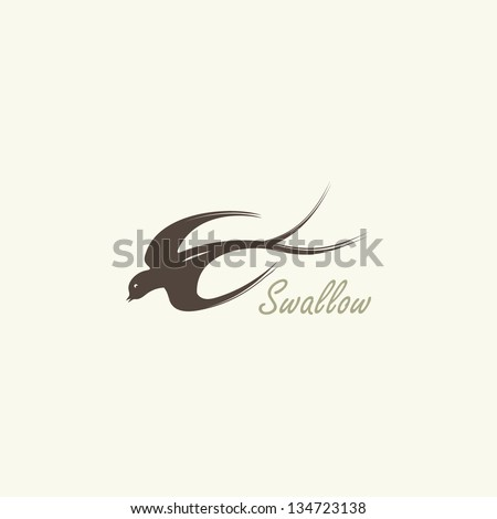 Flying swallows sign - stock vector